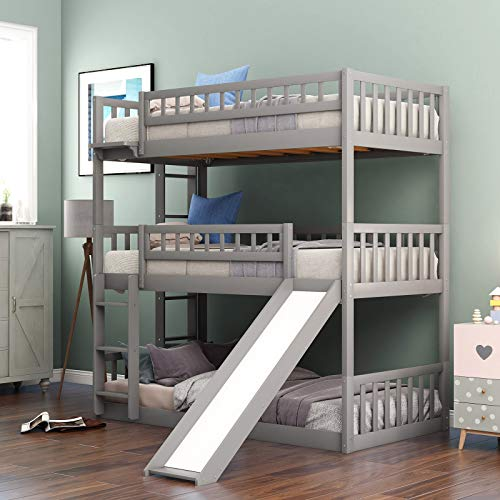 triple bunk bed with slide twin over twin over twin design for children and toddlers bedroom yinzbuy
